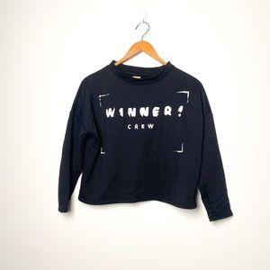 Zara Graphic Cropped Casual Crewneck Sweater